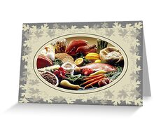 Thanksgiving Dinner and Autumn Decoration. Greeting Card