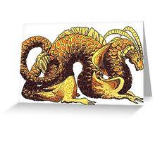 gold pixel dragon Greeting Card