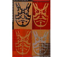 Japanese Kabuki Warrior Mask Matrix graffiti stencil Photographic Print