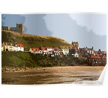 Whitby Abbey and beach from pier Poster