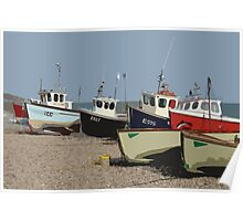 Fishing boats on Beer beach, Devon Poster