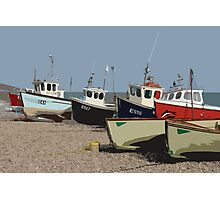 Fishing boats on Beer beach, Devon Photographic Print