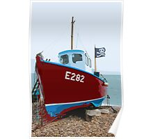 Fishing boat on Beer beach, Devon Poster