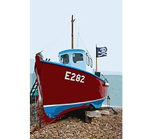 Fishing boat on Beer beach, Devon Photographic Print