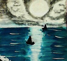 Boats enjoying a full moon, watercolor by Anna  Lewis