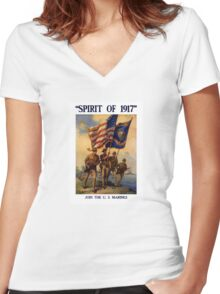 Join The US Marines -- Spirit Of 1917 Women's Fitted V-Neck T-Shirt