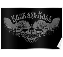 Rock and Roll Anarchy Twin Engine Motorcycle Skulls  Poster
