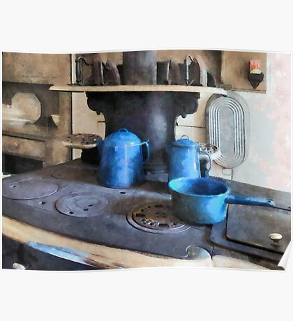 Blue Pots on Stove Poster