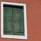 Green window in peach wall - Burano, Italy by tracyannjones