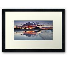 Mount Mauao Inkblot Dusk Framed Print