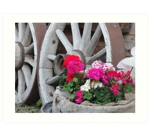 red and pink Geraniums with wagon wheels - Innsbruck, Austria Art Print