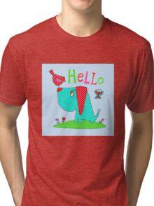 Dog and bird hello Tri-blend T-Shirt