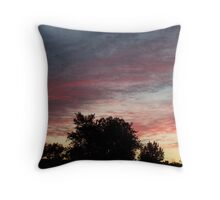 Striated sunset clouds Throw Pillow