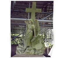Norwood cemetary: Sculpture: Angel with cross/tombstone -(220811b)- Digital photo Poster