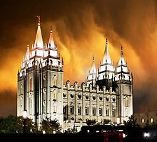 Salt Lake Temple Stormy Sunset 20x24 by Ken Fortie