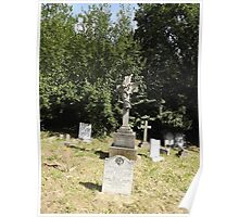 Norwood cemetary: Sculpture: Angel with cross/Tombstone II -(220811a)- Digital photo Poster