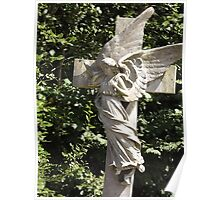 Norwood cemetary: Sculpture: Angel with cross/Tombstone II -(220811b)- Digital photo Poster