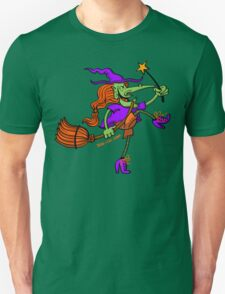 Crazy Witch Dancing with her Magic Wand Unisex T-Shirt