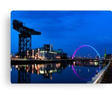 Night Reflections - Glasgow Titan and Squinty Bridge. Canvas Print