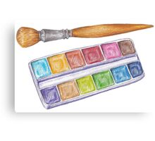 palette with brush Canvas Print