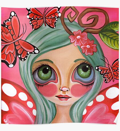"""Red Butterfly Fairy""  Poster"