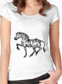 Hand drawn  ink illustration of zebra. Women's Fitted Scoop T-Shirt