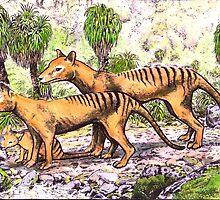 Thylacine family by SnakeArtist