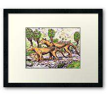 Thylacine family Framed Print