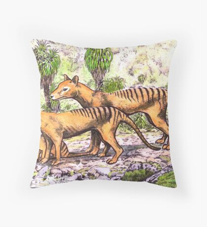 Thylacine family Throw Pillow