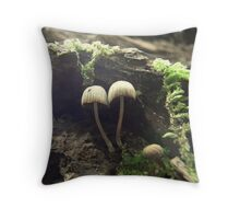 Tiny mushroom world. Throw Pillow