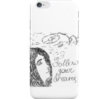 Hand drawn sketch with girl and text Follow your dreams iPhone Case/Skin