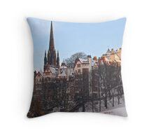 Ramsay Gardens in Winter, Edinburgh, Scotland Throw Pillow