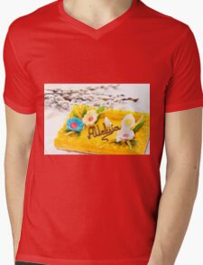 Catkins and yellow decorative Easter cake  Mens V-Neck T-Shirt
