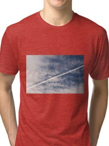 wake of the plane in the clouds Tri-blend T-Shirt