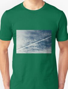 wake of the plane in the clouds Unisex T-Shirt