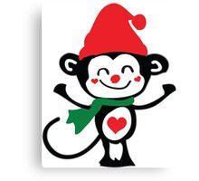 Cute monkey Santa Claus Canvas Print