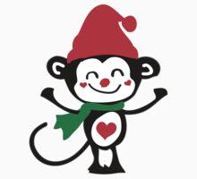 Cute monkey Santa Claus Kids Tee