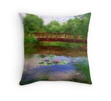 Monet's Bridge Throw Pillow