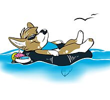 Corgi on the Water by WinterSnoWolf