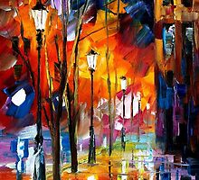 WHEN CITY SLEEPS- original oil painting on canvas by Leonid Afremov by Leonid  Afremov