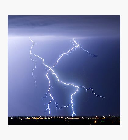 X Lightning Bolt in the Sky Photographic Print