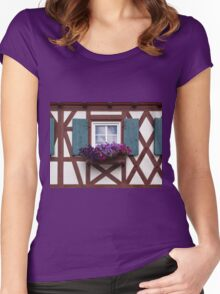 Window and Petunias Women's Fitted Scoop T-Shirt