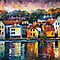 CITY ON RIVER - original oil painting on canvas by Leonid Afremov by Leonid  Afremov