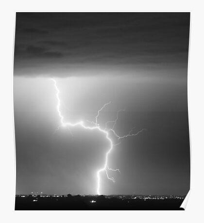 C2G Lightning Strike in Black and White Poster