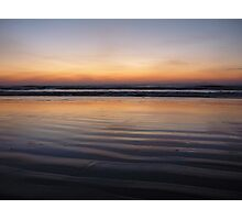 Sunset on wet sand at Llandanwg, near Harlech, North wales Photographic Print