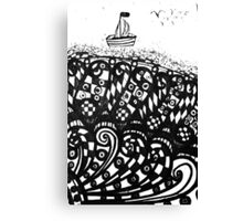 Hand drawn scetch of ship on a waves and flying seagulls. Canvas Print