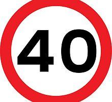 Speed Limit 40 Road Sign Die Cut Sticker by ukedward