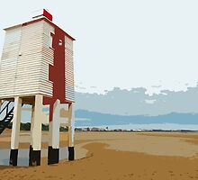 Burham light and beach, Burnham on Sea by Robert Huntley