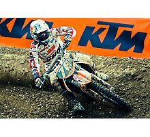 Motocrosser in a turn Photographic Print