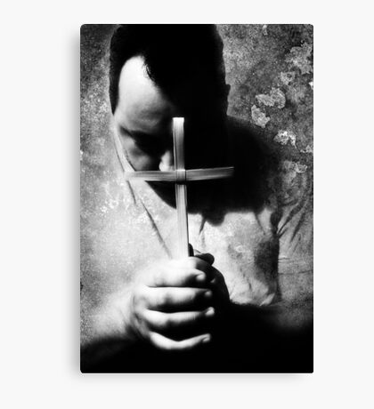 Bowing Before The Cross Canvas Print